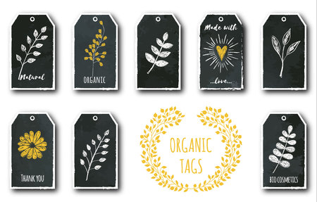 Vector set of cute gift tags with flower, heart, plants, tea leaf. Illustration