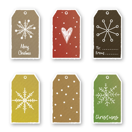 Vector set of Christmas and New Year cute gift tags.