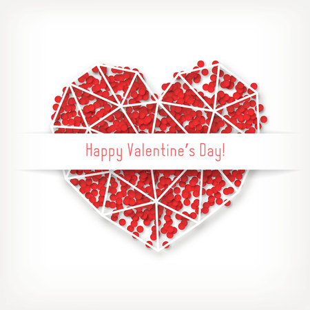 Vector Valentines day card with geometric white heart made of triangles with red confetti. Illustration
