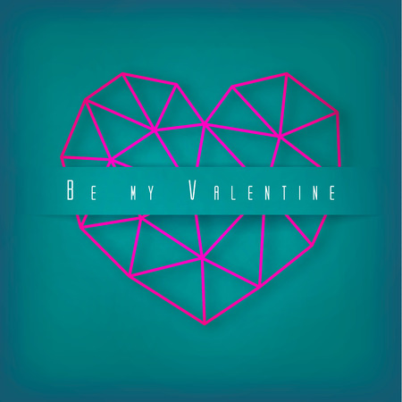 Vector Valentines day card with geometric pink heart made of triangles on green background. Illustration