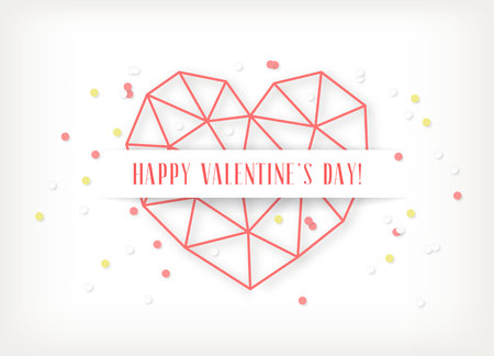 Vector Valentines day card with geometric red heart made of triangles on white background.