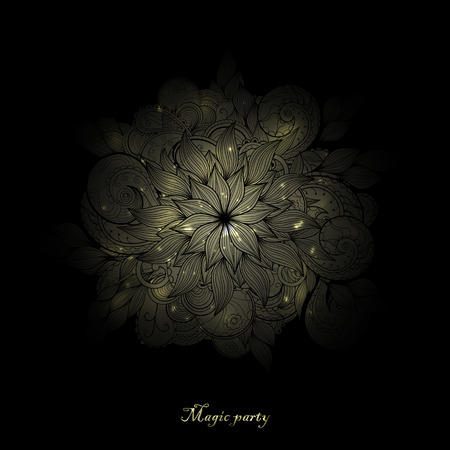 Vector glowing round flower on a black background. Illustration