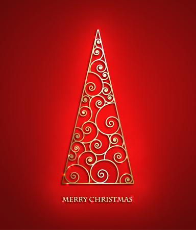 Elegant swirl metallic Christmas tree. Illustration