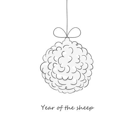 Christmas ball, made of sheep wool. Illustration