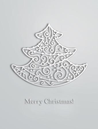 Elegant swirl Christmas tree with shadow. Vector card.