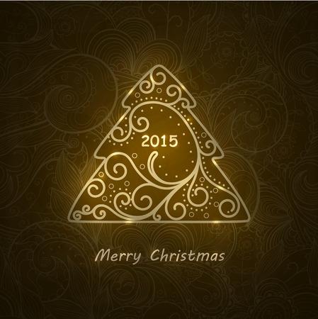 Elegant swirl Christmas tree with shine. Vector card.