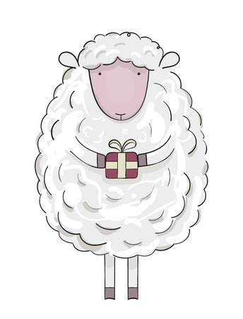 Christmas sheep with present.
