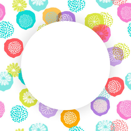 Vector circle frame on seamless floral pattern with doodle flowers. Illustration