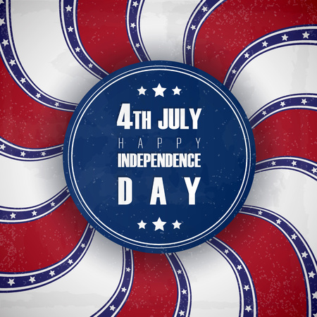 4 of July USA Independence Day greeting card. National flag card design.