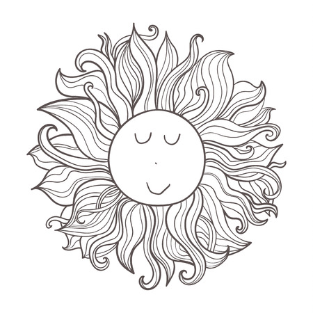 Vector doodle celestial illustration. Hand drawn cute funny character sun. Illustration