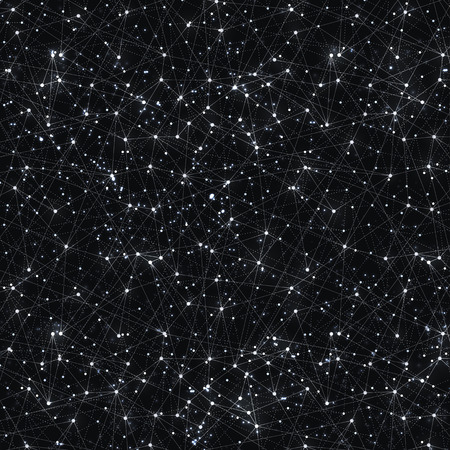 Abstract vector cosmic galaxy black background with nebula, stardust, bright shining stars, and geometric pattern.