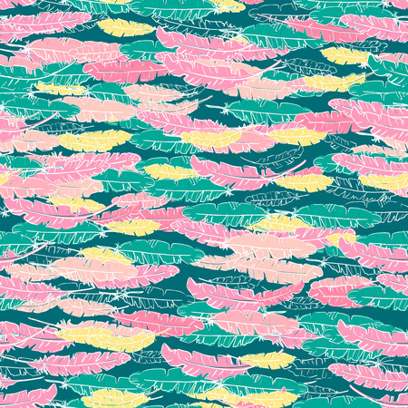 Vector boho hand drawn doodle seamless pattern with yellow, pink feathers on green background.