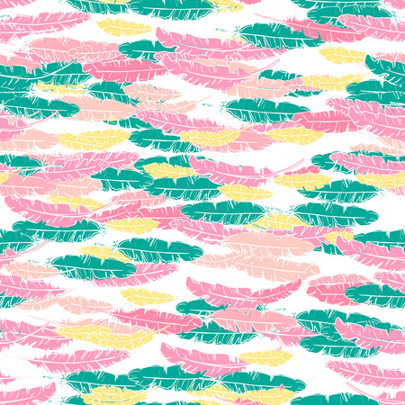 Vector hand drawn doodle seamless pattern with green, yellow pink feathers on white background.