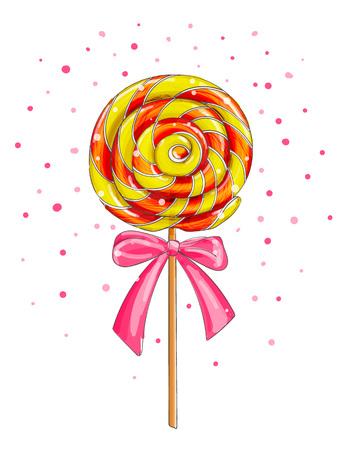Colorful lollipop candy, cartoon vector illustration. Illustration