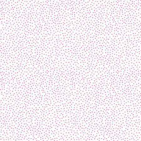 Vector seamless pink dot pattern on white background.