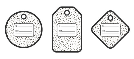 Set of geometric tags with doodle dots pattern and place for text. Black and white design. Illustration