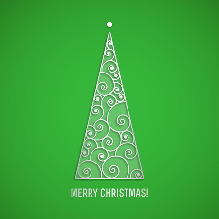 Elegant silver swirl Christmas tree with shadow on green background. Vector greeting card, Clean and Simple style.