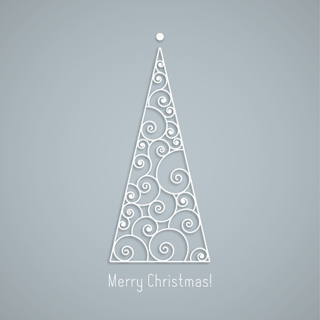 Elegant silver swirl Christmas tree with shadow on gray background. Vector greeting card, Clean and Simple style.