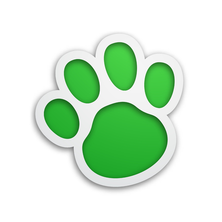 Vector paw icon for pets shop. Beautiful frame with shadow and 3d effects. Green and white colors. Illustration