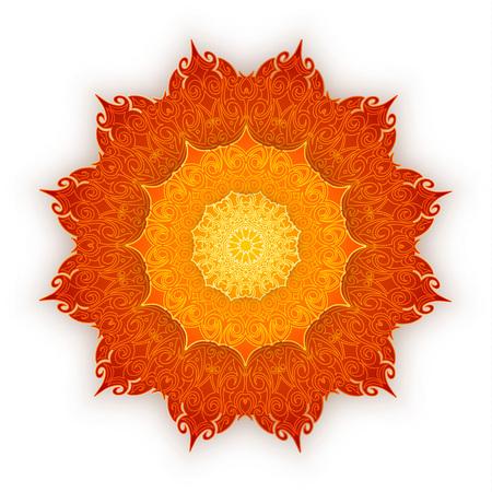 Lace orange mandala with shadow on white background. Vintage decorative elements. Islam, Arabic, Indian, ottoman motifs.