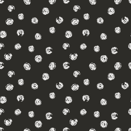 Vector seamless pattern with chaotic circle brush strokes. Gray and white design. Illustration