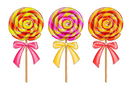 Set of colorful lollipop candies, isolated on white, cartoon vector illustration.