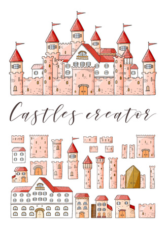 Vector cartoon cute creator castles. Set of medieval architecture: houses, towers, fences, walls