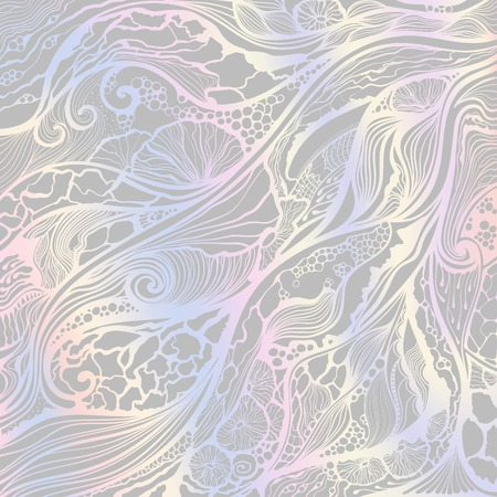 Abstract vector hand drawn leaf doodle pattern with holographic gradient background. Ilustrace