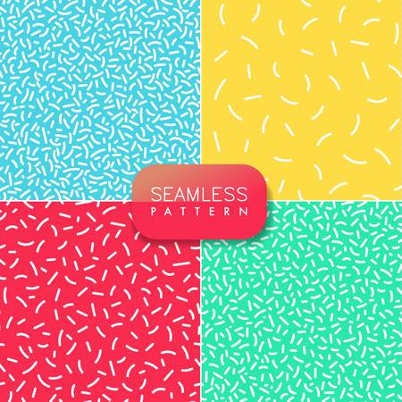 Set of abstract modern pop art vector seamless patterns with forms in trendy memphis style on red, blue, green and yellow backgrounds.