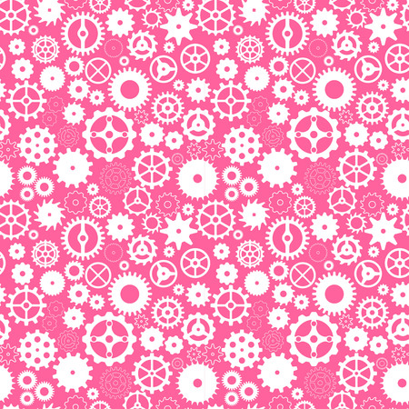 Vector seamless pattern with gears on pink background Ilustrace