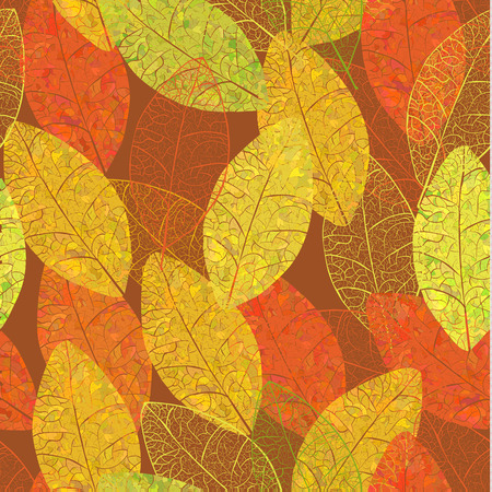 Autumn skeleton leaves. Vector seamless background