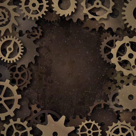 Vector steampunk frame with metallic gears on grunge background.