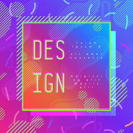 Abstract modern pop art vector frame in trendy memphis style with example of design text. Ilustrace