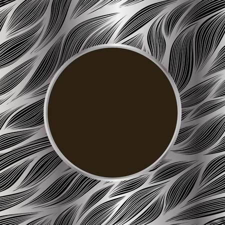 Vector circle frame with shadow on leaf hand drawn pattern on silver background