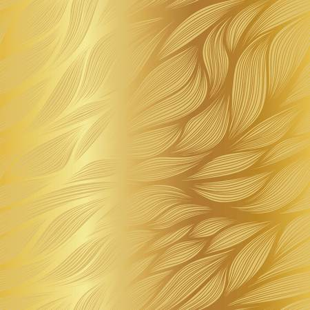 Abstract gradient vector hand drawn leaf doodle pattern on metallic gold background.