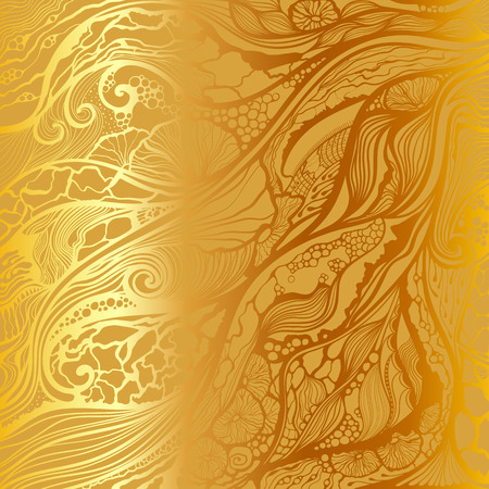 Abstract vector hand drawn doodle pattern. Gold metallic background. Ilustrace
