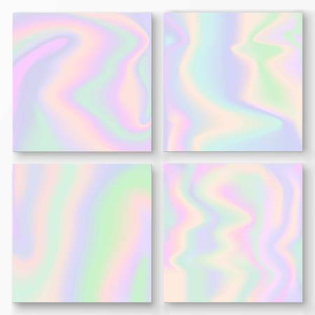 Set of vector holographic gradient backgrounds