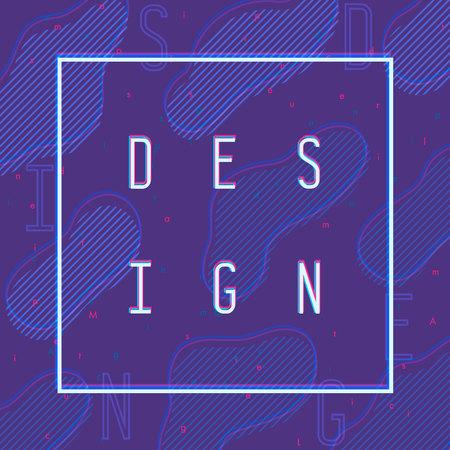 Abstract modern pop art vector card. Minimal geometric blue background.