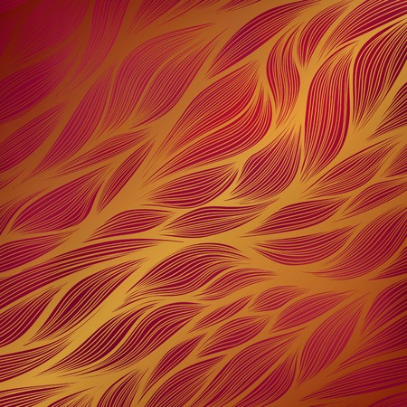 Abstract vector hand drawn gold leaf doodle pattern with gradient red background. Ilustrace