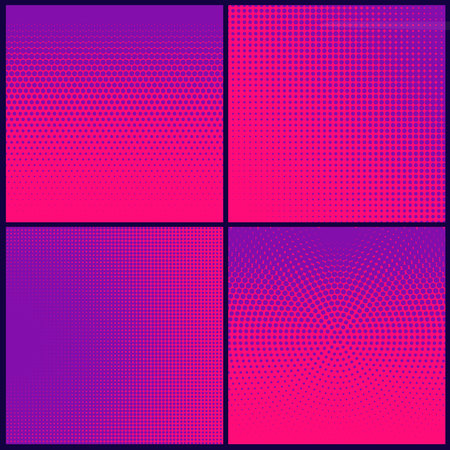 Set of modern abstract purple patterns on halftone pink backdrop