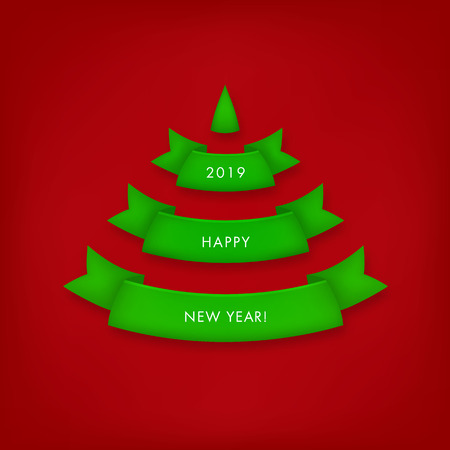 Green Christmas tree made of realistic ribbons with shadow on red background. Vector gift card. Ilustrace