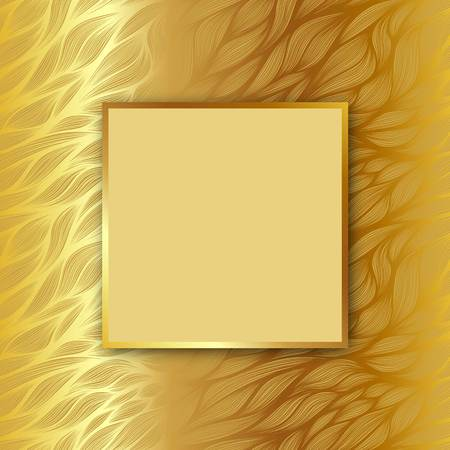 Vector square frame with shadow on leaf hand drawn pattern on gold background
