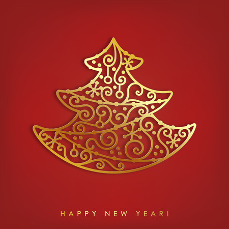 Abstract gold and glossy metallic tree. Merry Christmas greeting card design template with shadow on red background.