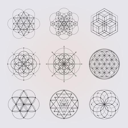 Elementi di disegno vettoriale di geometria sacra.