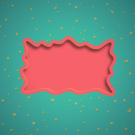 Bright Abstract vector 3D frame with shadow and circle confetti. Trend coral turquoise colors