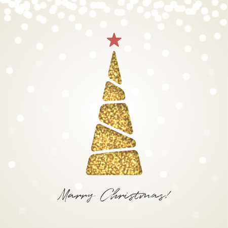 Creative paper Christmas tree, made of gold glitter sparkling particles on light background. Vector magic illustration.
