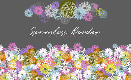 Seamless vector border with lemon, white, blue, pink stylized doodle flowers and place for your text on gray background. Ilustrace