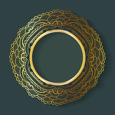 Vector vintage circle frame made of lace with shadow. Elegant design template for invitations, cards, information.