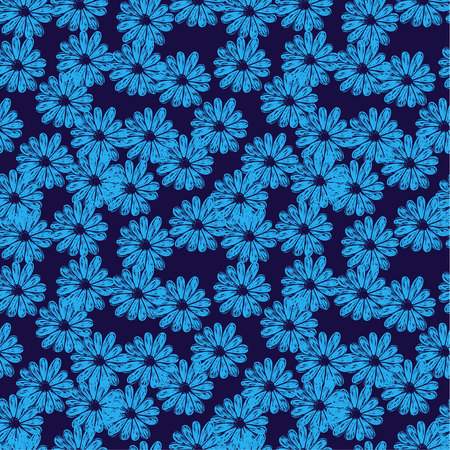 Vector seamless pattern with doodle flowers. Blue and black colors Ilustrace