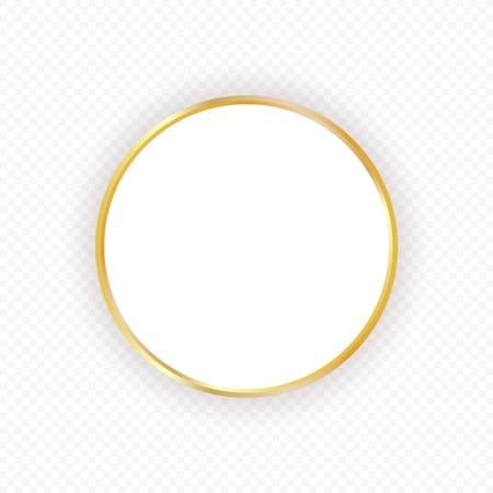 Vector gold circle frame with shadow on transparent background. Elegant design template for invitations, cards, information. Element for design. Illustration